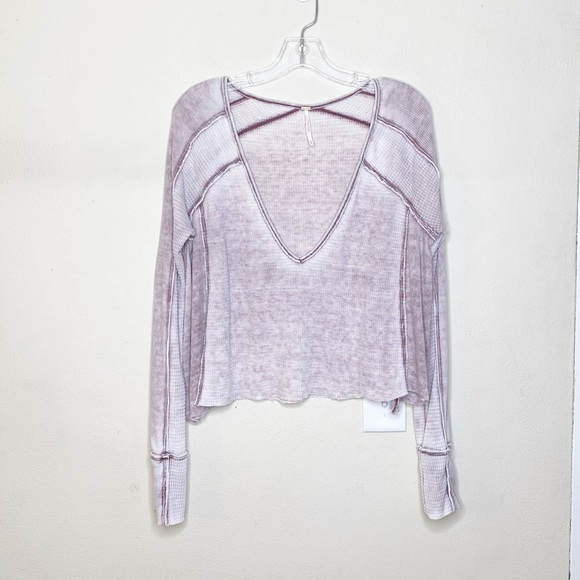 Free People Tops - Free People Long Sleeve Thermal V Neck Crop